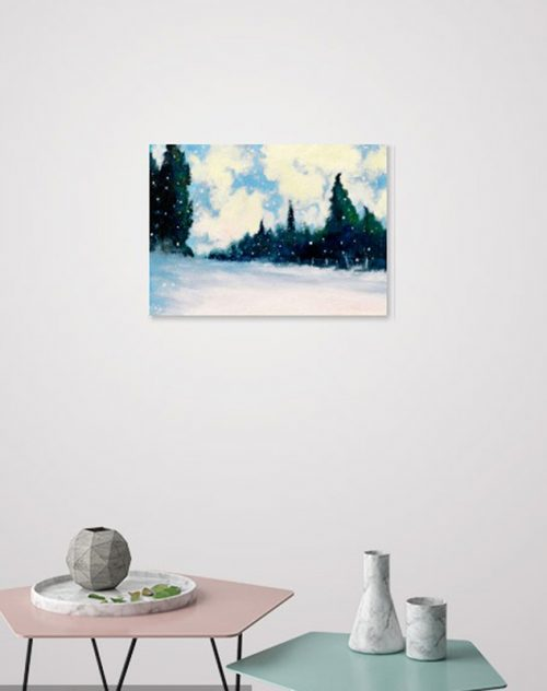 Cypresses and Snowflakes by John O'Grady | A medium sized snow scene with swirly clouds and tall cypresses displayed in a living room