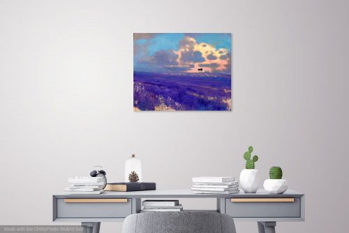 Failling Light in Ferrassières by John O'Grady displayed above a desk in a study | An evocative landscape painting of lavender fields in Provence one summer at sunset