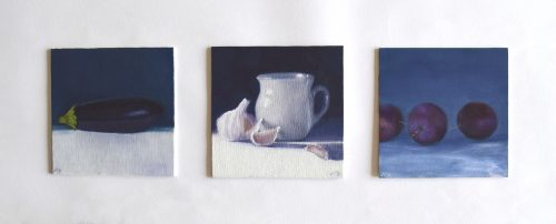 Set of Three Still Lifes with Morning Light by John O'Grady | Three small oil paintings with the subject matter beautified in the morning light