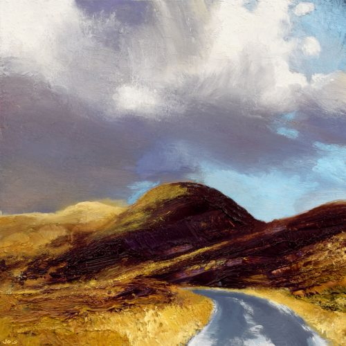 The Bog Road by John O'Grady | An Irish landscape painting in oil of a road across hills and bogland one cloudy evening