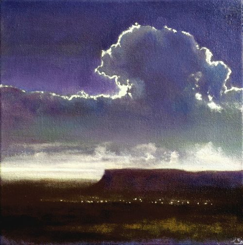 Between the Dark and Dawn by John O'Grady | A view of Ben Bulben at dawn when light rises on the horizon to reveal the subtle violet and brown colours of the land