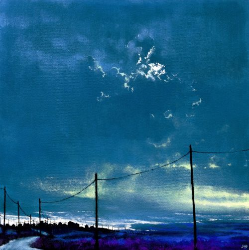The Road to the Sea V by John O'Grady | A West of Ireland acrylic painting at dawn when moon and sun coexist