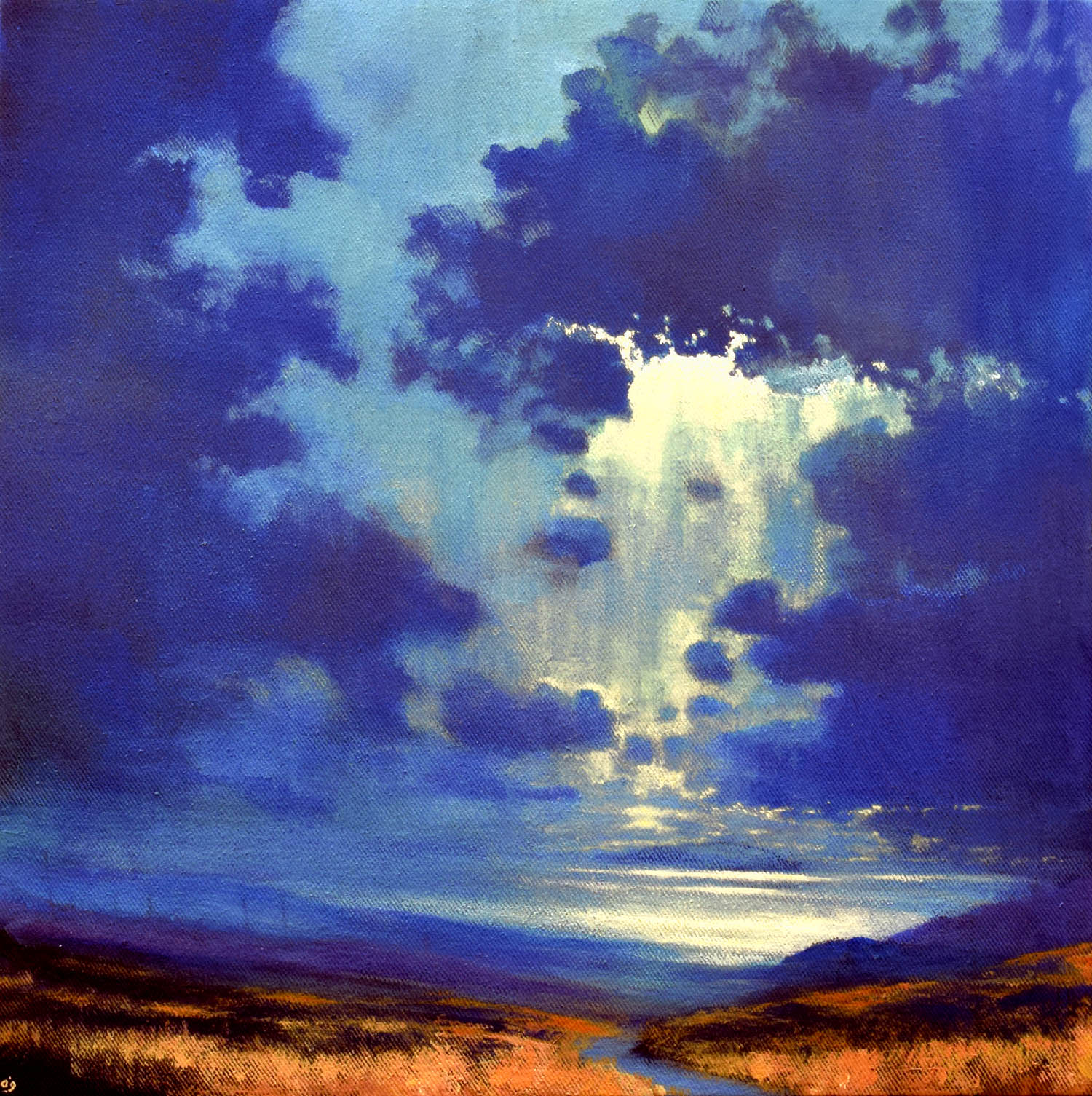 Take Me to the Island XIV, John O'Grady | A dream-like moonlit nocturne painting in the West of Ireland by the ocean