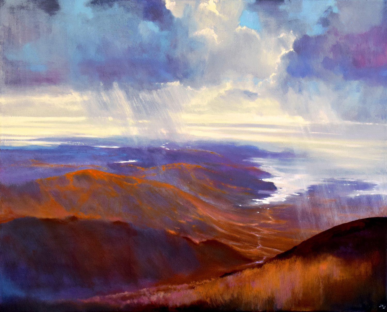 As Far as The Eye Can See V by John O'Grady | A scenic landscape painting of the West of Ireland on a changing weather day