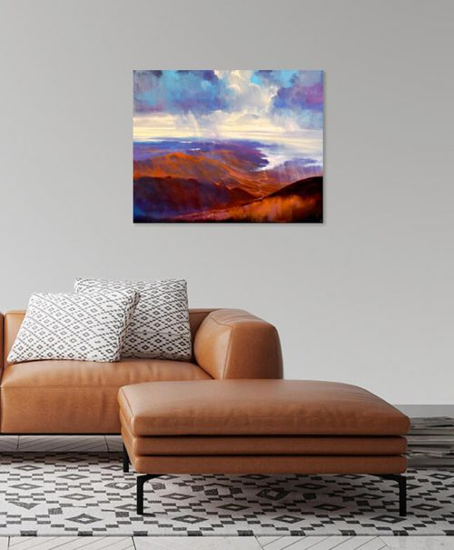 As Far as the Eye Can See V by John O'Grady displayed in a living room with brown sofa | Scenic seascape painting of the West of Ireland
