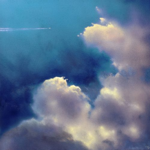 Icarus I by John O'Grady | A cloudy skyscape with a flight passing through