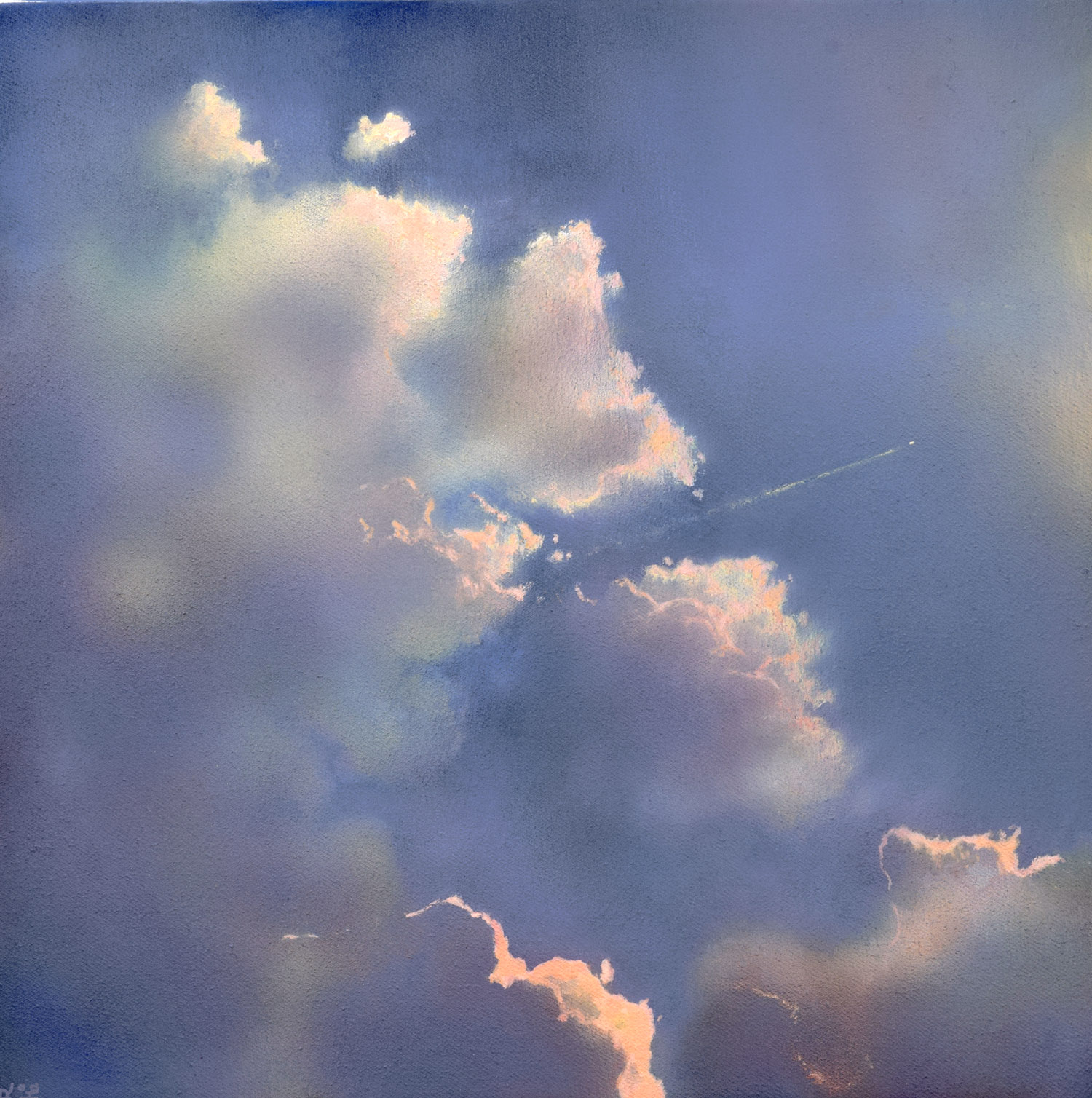 Icarus II by John O'Grady | An atmospheric skyscape on canvas with large clouds edged with pink light