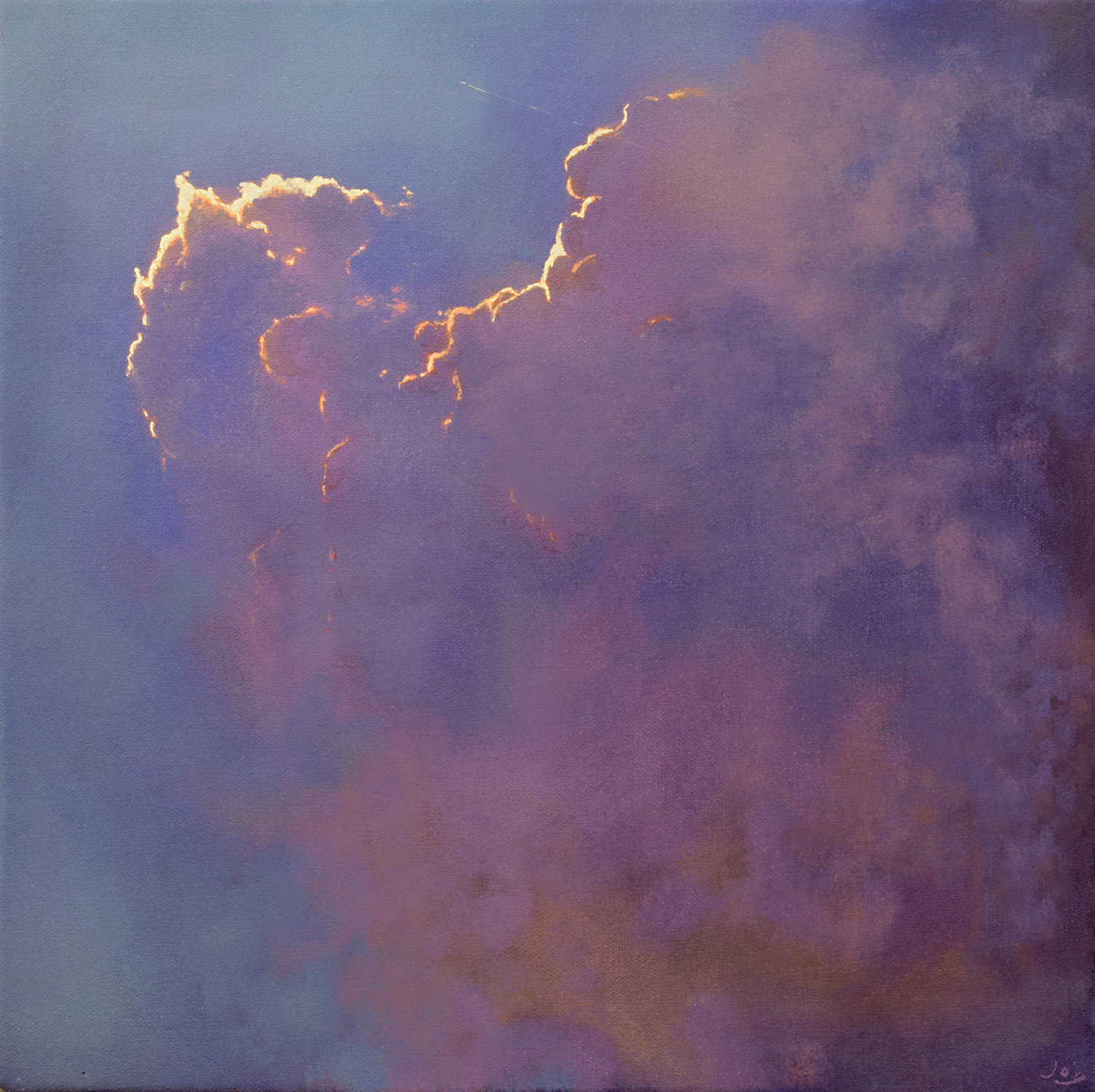 Icarus III by John O'Grady | An atmospheric cloudscape with a brooding sky and clouds edged with gold