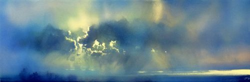 Dark into Light, Prelude by John O'Grady | A Panomaric Dawn Skyscape Painting with soft colours