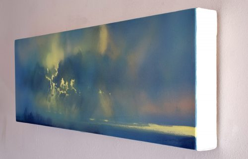 Dark into Light, Prelude by John O'Grady, a side view | A side view of a panoramic skyscape painting with the soft blue-green light of dawn