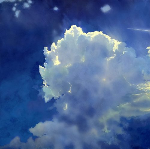 Icarus IV by John O'Grady | A large size cloudscape with a cumulus filled with light on a dark blue sky