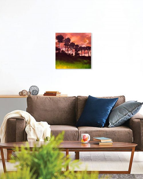 Murmur in the Trees VI by John O'Grady displayed in a sitting room | A sunset in Provence on a hot day