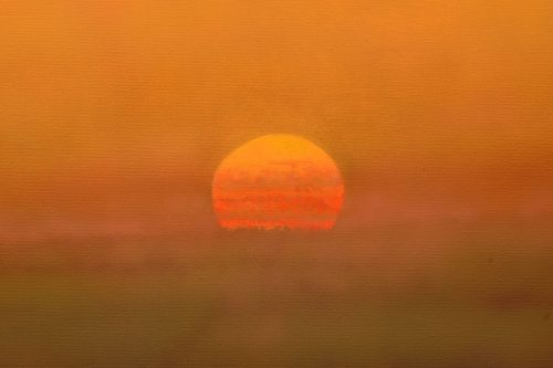 Detail of sun on landscape painting 'Sunset at St Hippolyte' by john O'Grady
