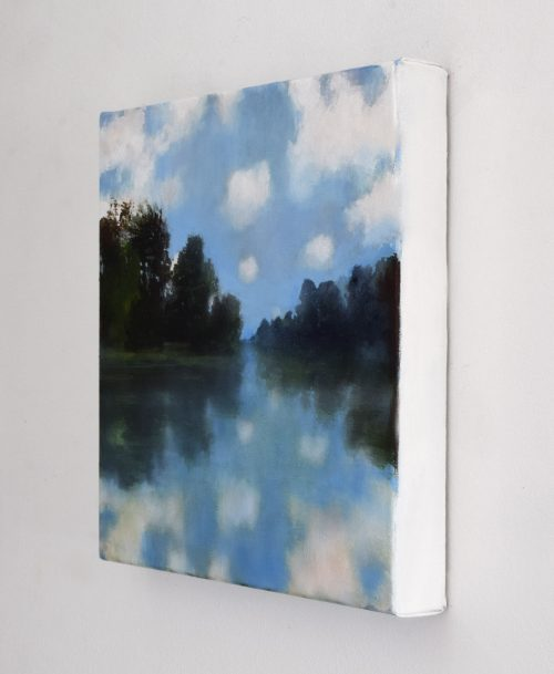 A side view of the painting with cloud reflections in the Ouvèze river by John O'Grady