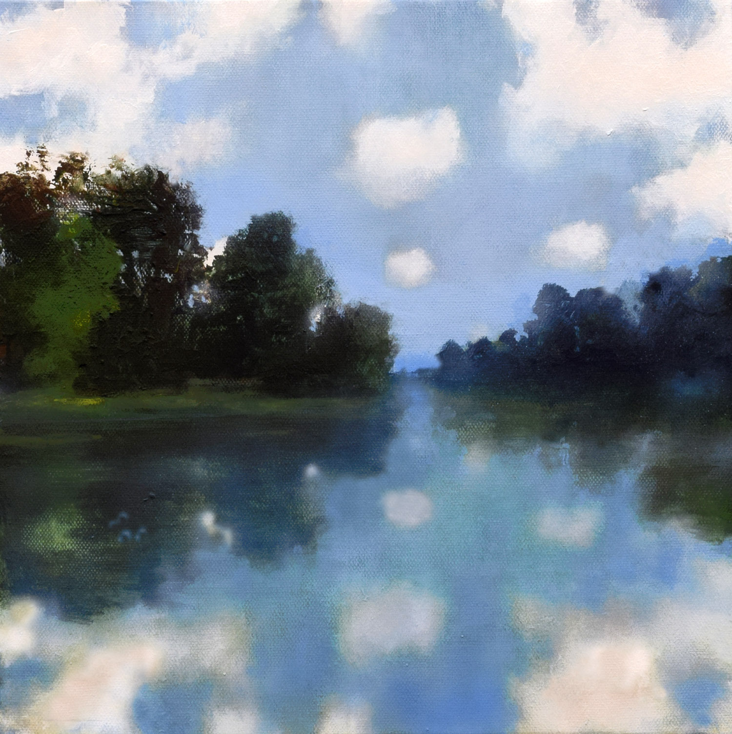 Quiet autumnal painting of cloud reflections called 'Clouds in the Ouvèze River' by John O'Grady