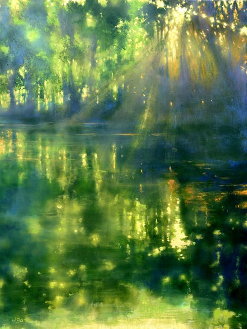 River painting, mainly green, with reflections in water and dappled light called 'On the Banks of the Ouvèze River III' by John O'Grady