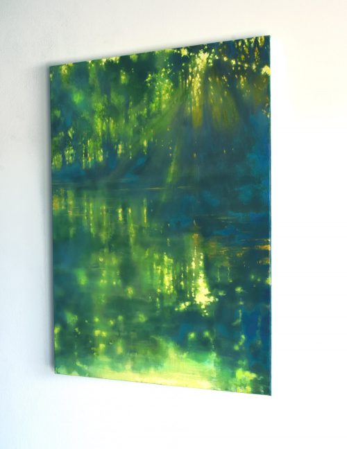 River painting with water reflections and dappled light sideview called 'On the Banks of the Ouvèze River III' by John O'Grady