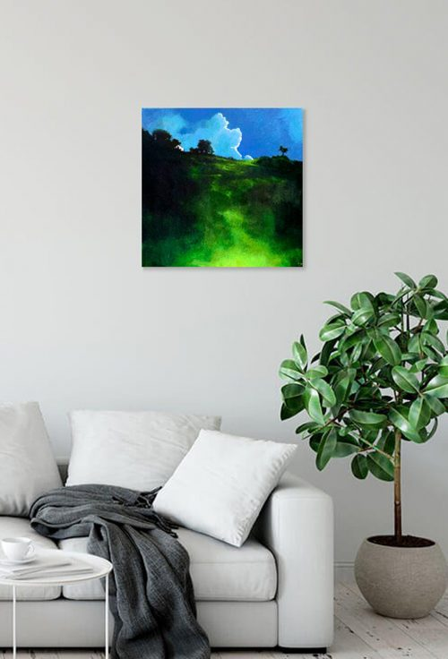 Nocturne Irish landscape painting with green hill called 'the House on the Hill' by John O'Grady displayed above a sofa