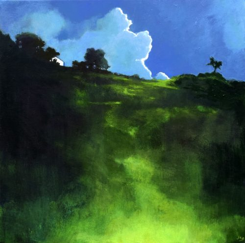 Irish Landscape Painting with green grass covered hill called The House on the Hill by John O'Grady