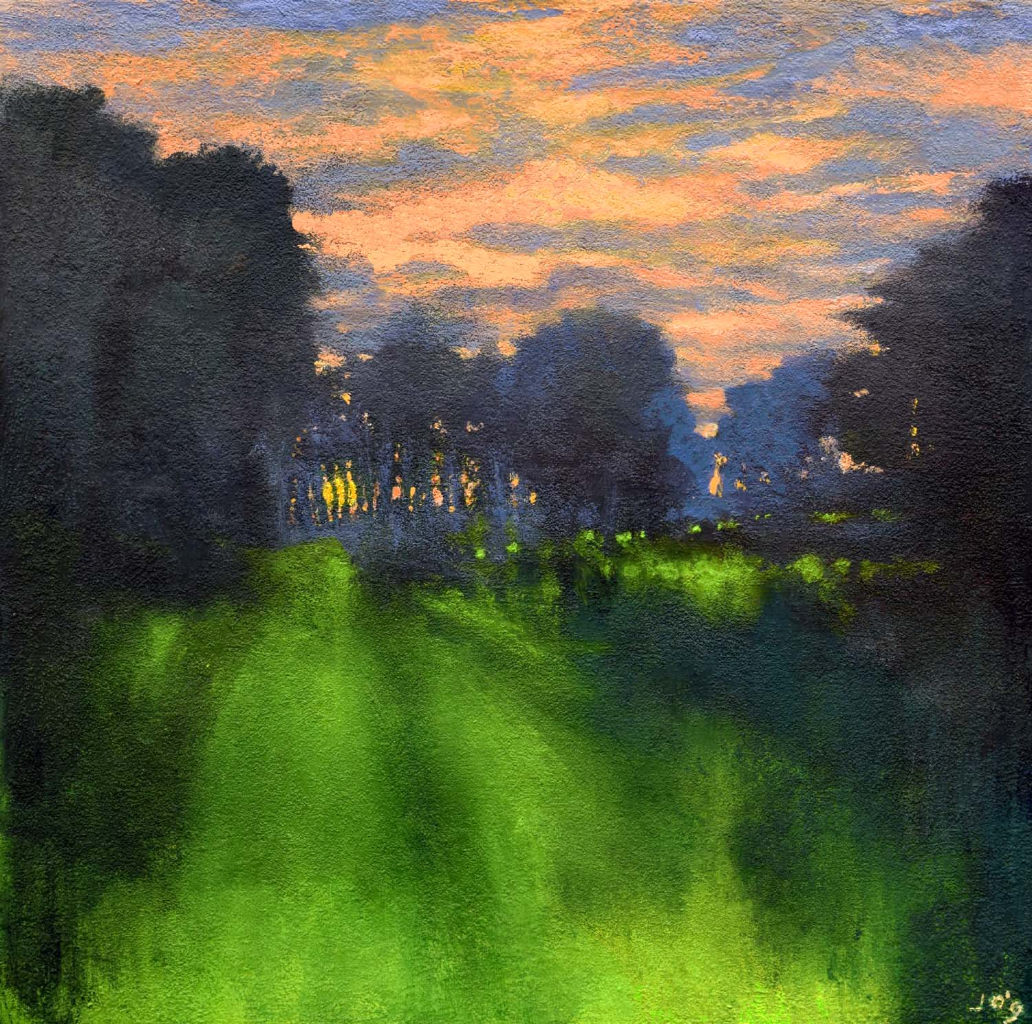 Silence at Eventide, a quiet sunset painted with acrylics on canvas by John O'Grady