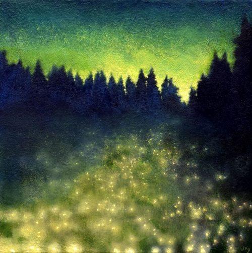 Dreamlike Summer Nocturne Painting called 'The Field of Fallen Stars' by John O'Grady
