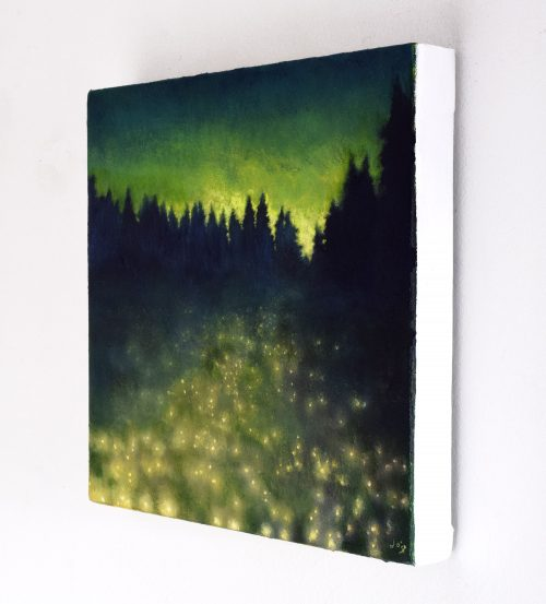 Magical Summer Nocturne Painting called 'The Field of Fallen Stars' by John O'Grady (sideview)