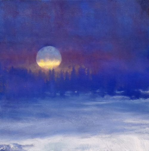 Winter landscape nocturne with a full moon called 'The Frozen Field V' by John O'Grady