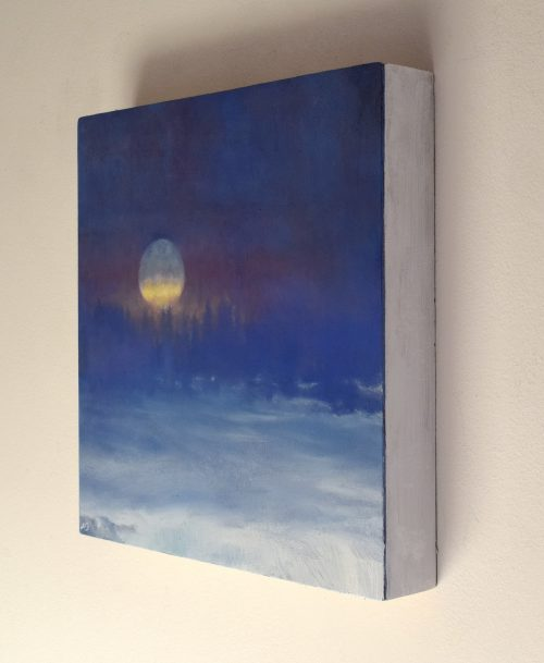 Winter nocturne with full moon seen sideways and called 'The Frozen Field V' by John O'Grady