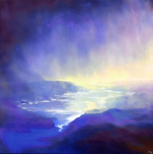 Atmospheric Seascape Painting With Veil of Rain | The Spirit of Water VIII by John O'Grady