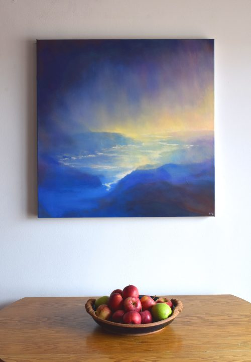 Seascape painting with veil of rain seen in living room | The Spirit of Water VIII by John O'Grady