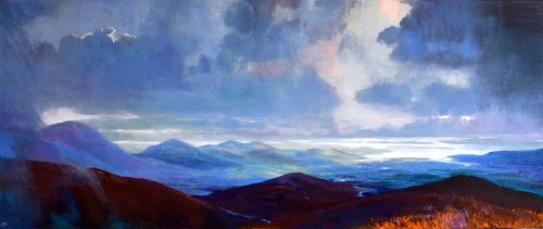 Scenic View of the West Coast of Ireland, a panoramic painting called 'As Far as the Eye Can See VI' by John O'Grady