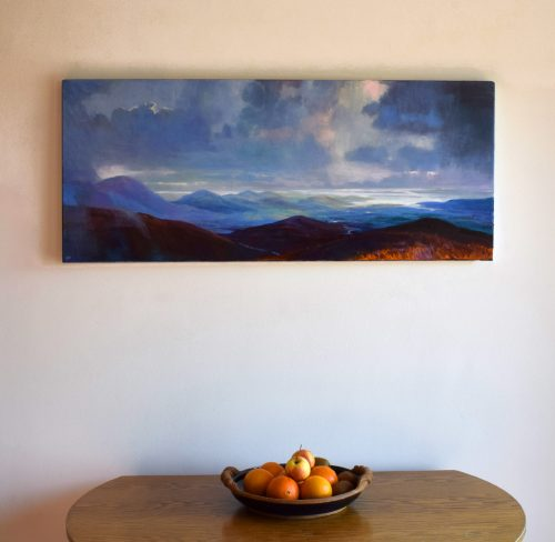 Panoramic west of Ireland oil on canvas painting called 'As Far as the Eye Can See VI' by John O'Grady displayed in living room