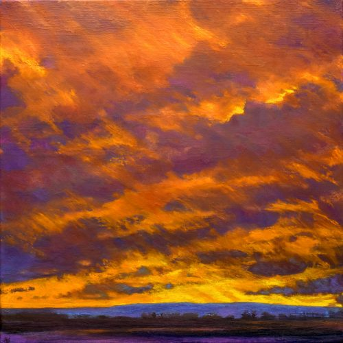 Oil Painting of Winter Sunset in Provence with a Gold and Violet Sky called 'On Looking West' by John O'Grady