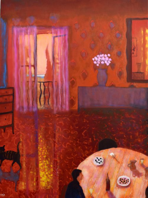 Large Interior Painting with reds and orange colours called Summer Evening, Vence by John O'Grady