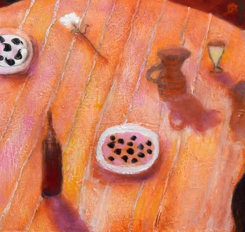 Detail of table from Summer Evening, Vence by John O'Grady