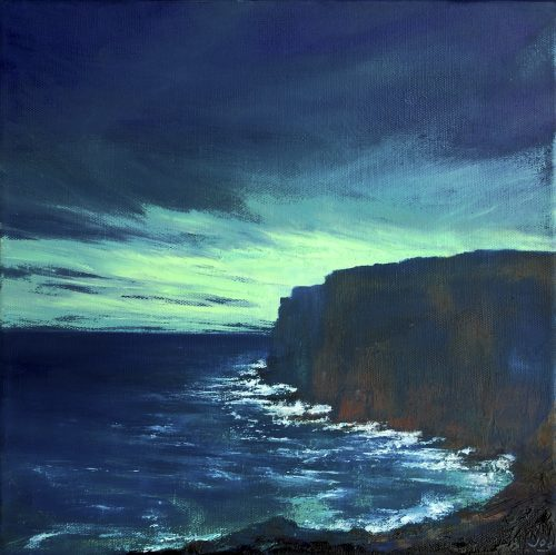 West Coast of Ireland Painting on a dark day with a dark blue brooding sky and diffused light above waves crashing against the cliffs. It's called The Edge of the Deep Green Sea II by John O'Grady