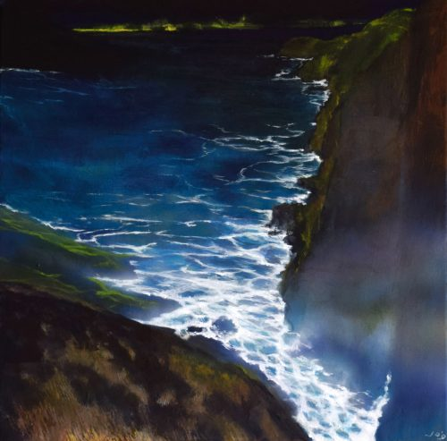 Painting of the Irish Coast by Night viewed from a cliff called 'The Edge of the Deep Green Sea III' by John O'Grady