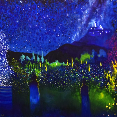 The Sisters by John O'Grady - Dreamlike painting of an Enchanted Garden