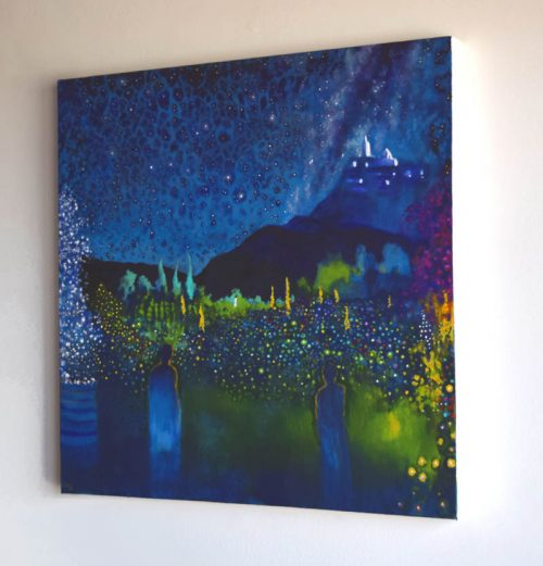 The Sisters by John O'Grady | Side view of Dreamlike enchanted garden painting